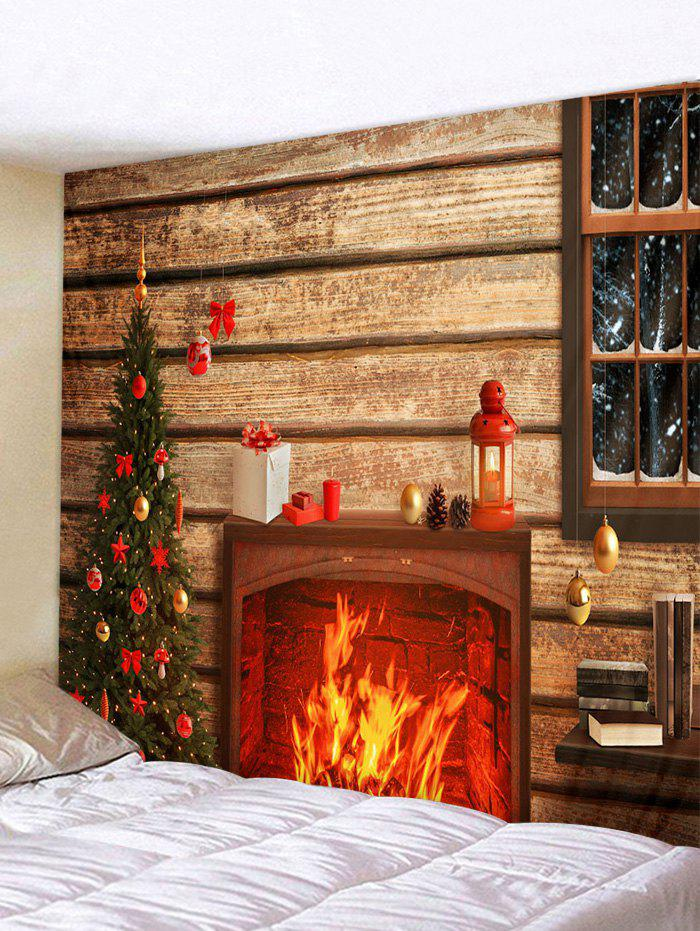 Christmas Tree Fireplace Wooden House Print Tapestry Wall Hanging Art Decoration - multicolor W79 X L71 INCH