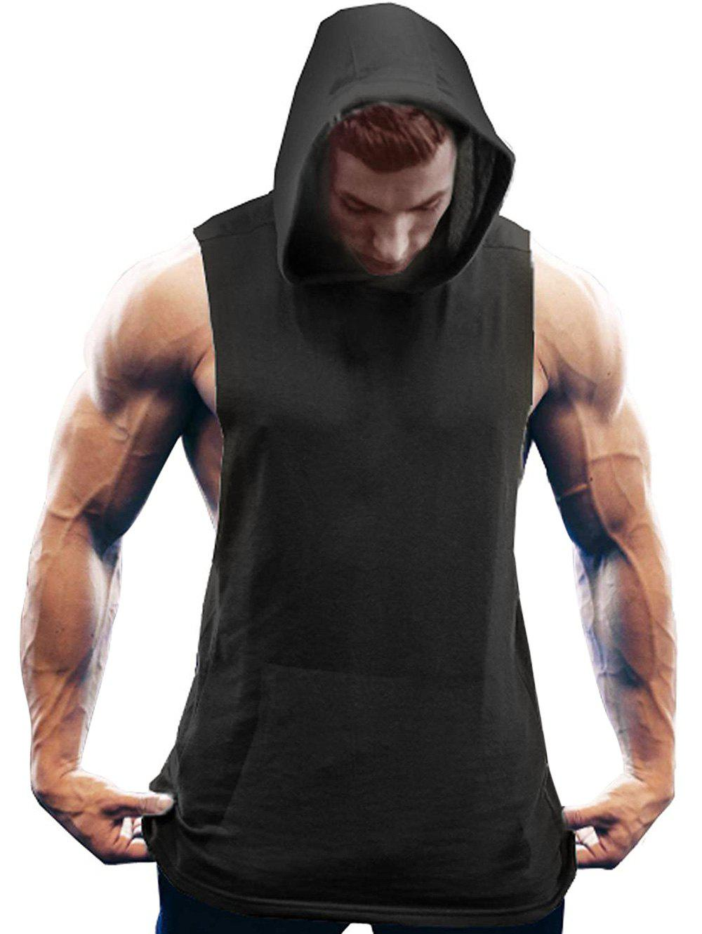 Plus Size Solid Hooded Tank Top - BLACK 5XL