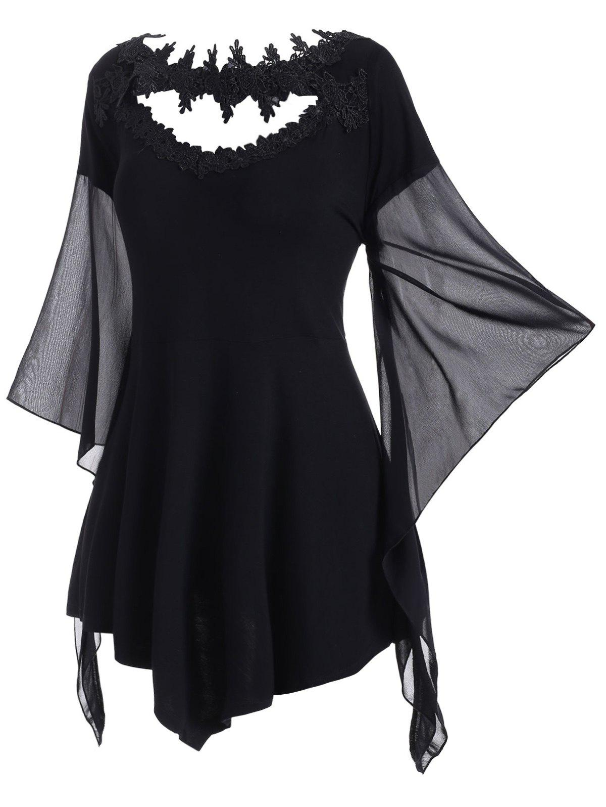 Lace Panel Cut Out Asymmetrical Sleeve Plus Size Top - BLACK 4X