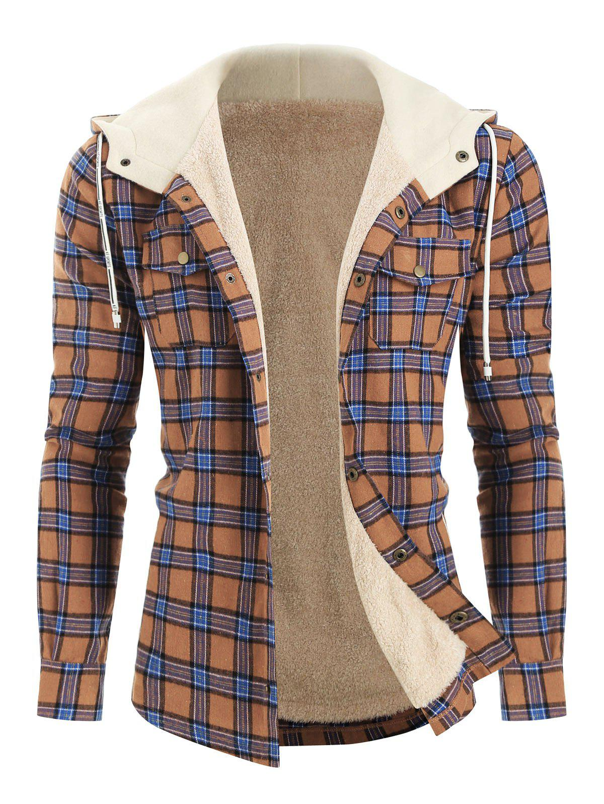 Plaid Chest Pocket Fleece Hooded Jacket - CAMEL BROWN XL