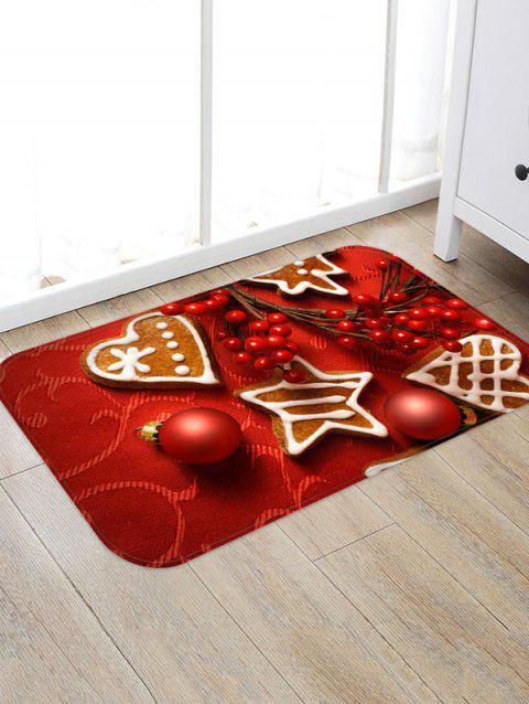 Christmas Balls Heart Biscuit Pattern Water Absorption Area Rug