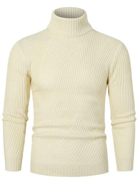 Solid Color Turtleneck Slant Ribbed Sweater