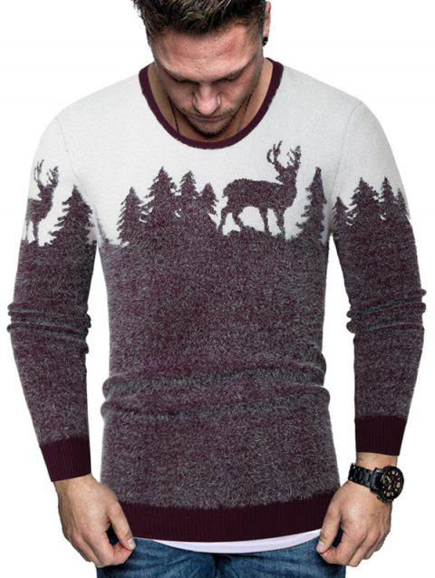 Christmas Elk Graphic Crew Neck Fuzzy Sweater - RED 2XL