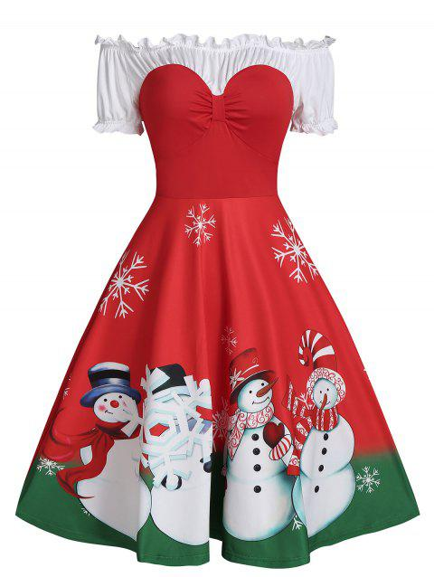 Christmas Snowman Print Off The Shoulder Ruched Skater Dress