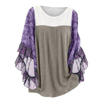 Plus Size Floral Print Flare Sleeve Contrast Pullover Knitwear