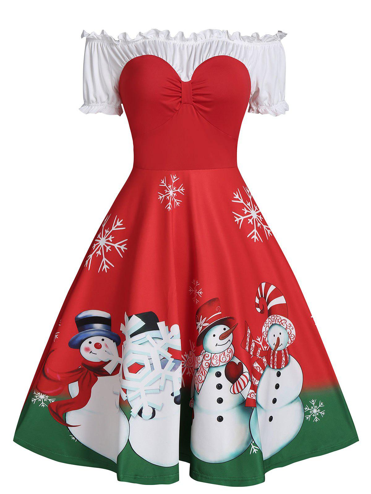 Christmas Snowman Print Off The Shoulder Ruched Skater Dress - RED 3XL