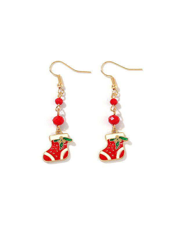 Beads Christmas Stocking Dangle Earrings - RED