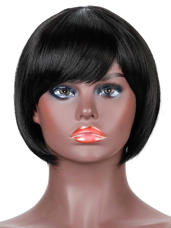 Synthetic Side Bang Straight Short Bob Wig - BLACK