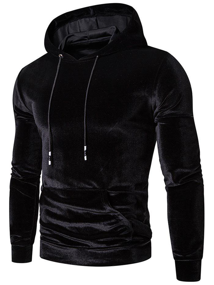 Solid Color Casual Pocket Hoodie - BLACK 3XL
