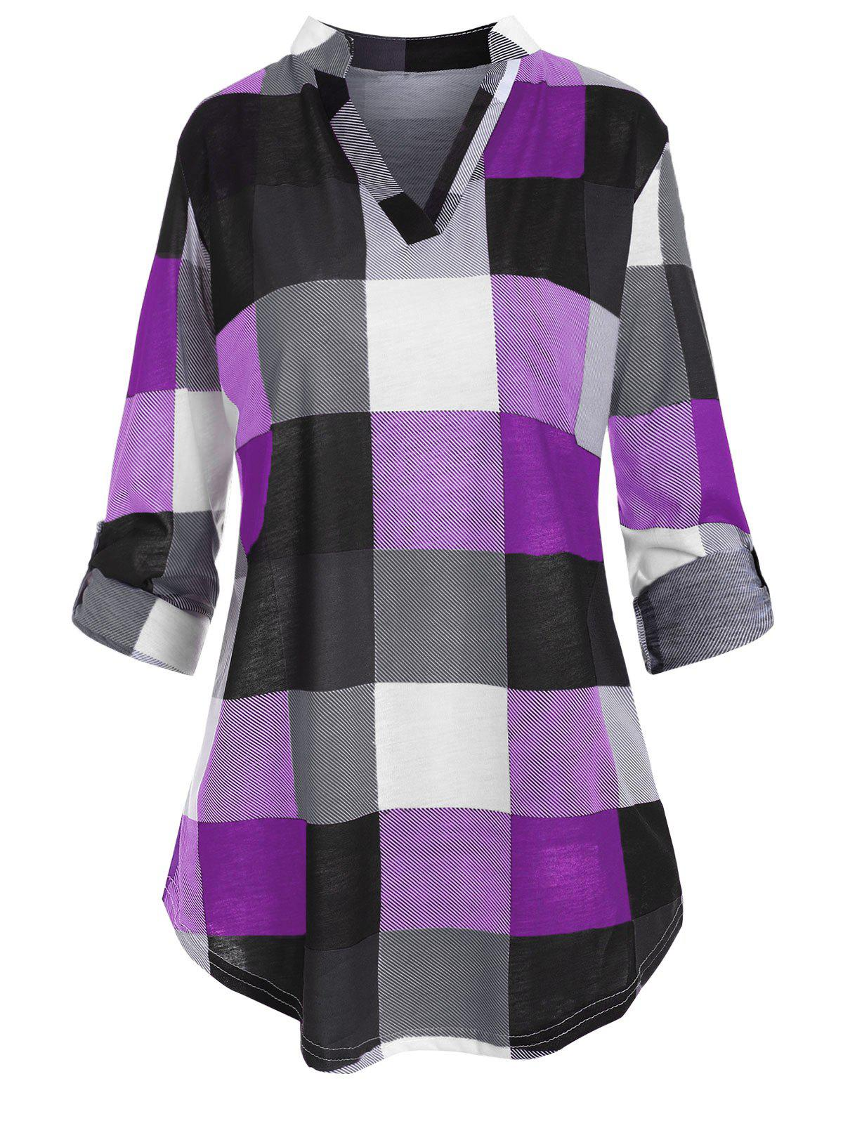 Plus Size Roll Up Sleeve Checked Top - PURPLE IRIS 2X