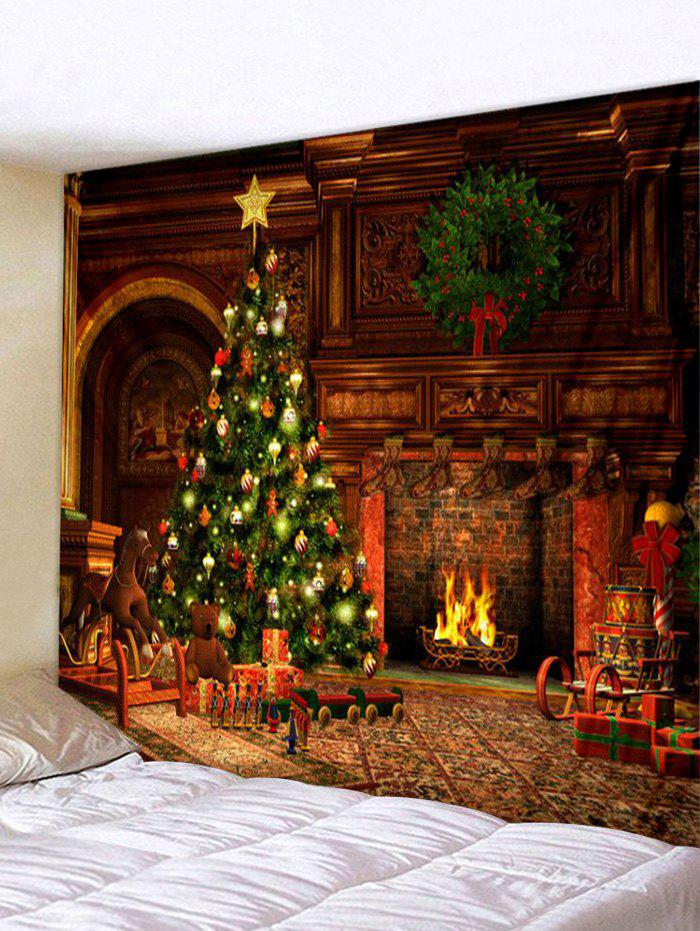 Christmas Tree Fireplace Print Tapestry Wall Hanging Art - multicolor W71 X L91 INCH