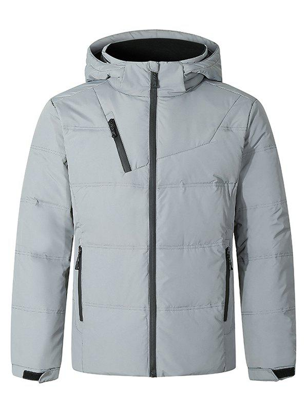 Solid Color Front Zip Hooded Puffer Jacket - LIGHT GRAY M