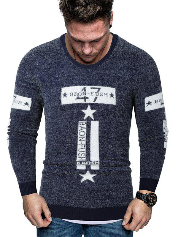 Letter Star Graphic Fuzzy Crew Neck Sweater - CADETBLUE M