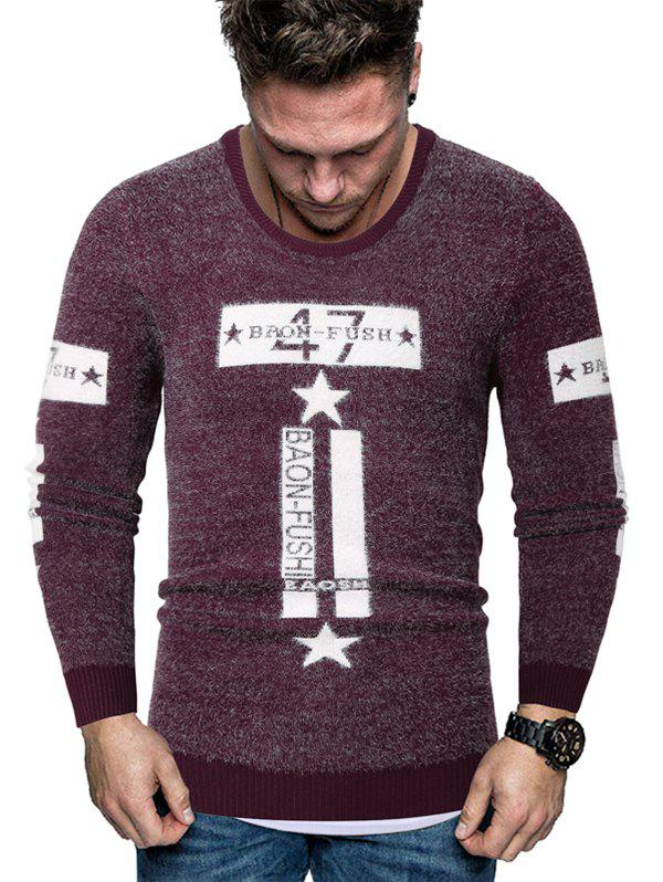 Letter Star Graphic Fuzzy Crew Neck Sweater - RED L
