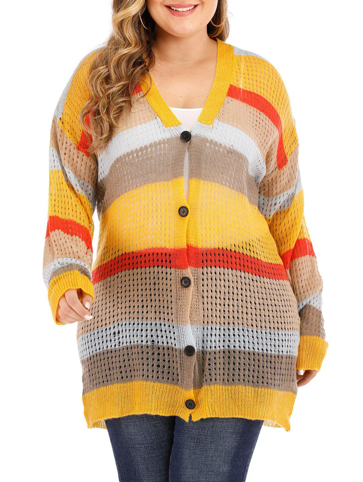 Plus Size Contrast Color Button Up Cardigan - YELLOW 1X