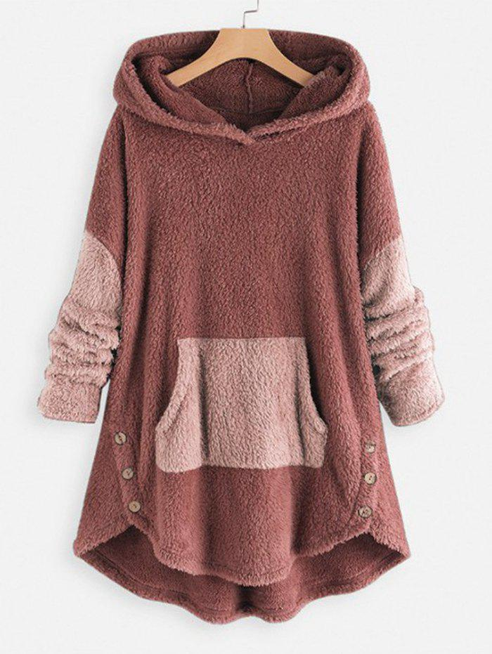 Two Tone High Low Faux Shearling Hoodie - ROSY BROWN 2XL