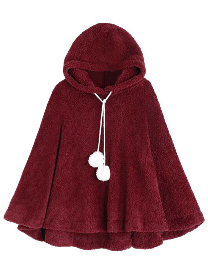 Hooded Fuzzy Ball Plush Poncho - RED ONE SIZE