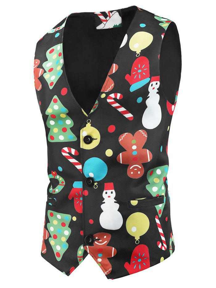 Christmas Snowman Pattern Button Waistcoat - BLACK L