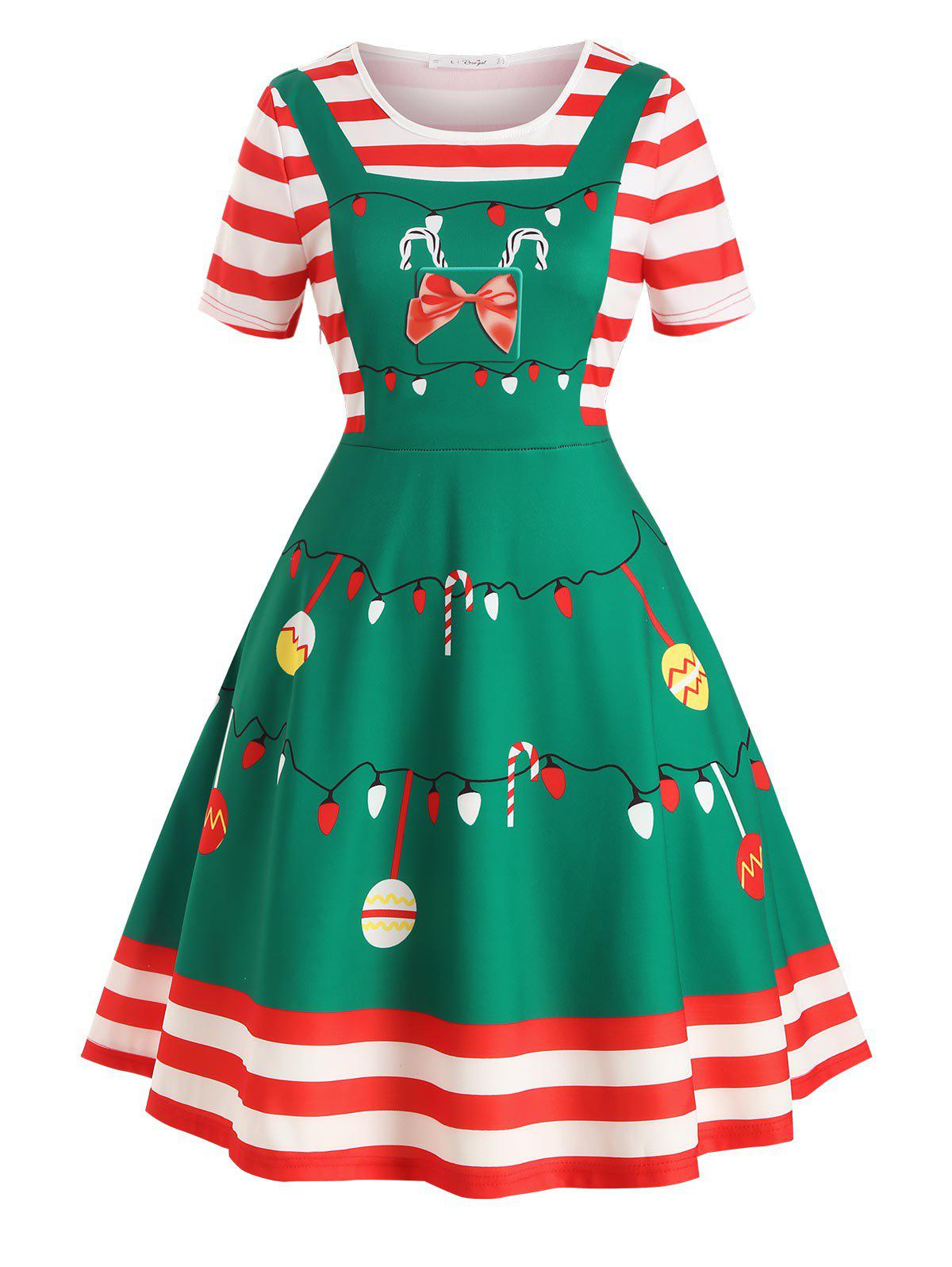Plus Size Vintage Christmas Print Fit and Flare Dress - JUNGLE GREEN L