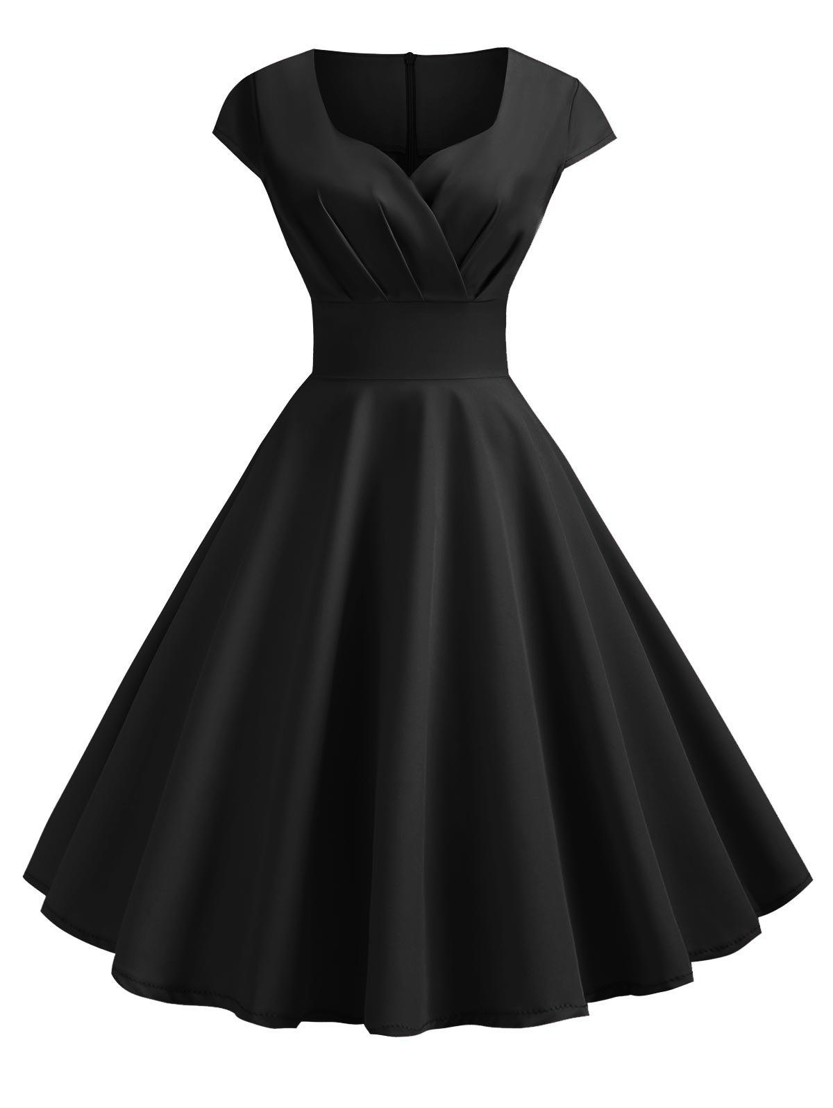 Sweetheart Neck Vintage Rockabilly Style Fit and Flare Dress - BLACK XL