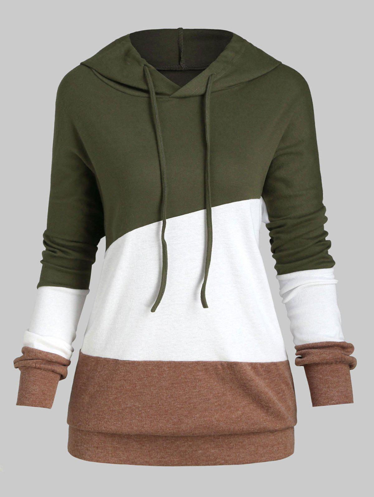 Colorblock Drawstring Drop Shoulder Plus Size Hoodie - GREEN 1X