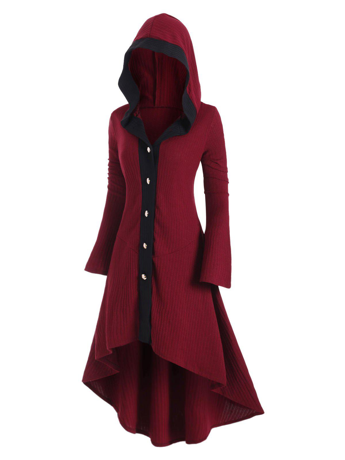 Plus Size Hooded Button Front Asymmetrical Long Cardigan - RED WINE L
