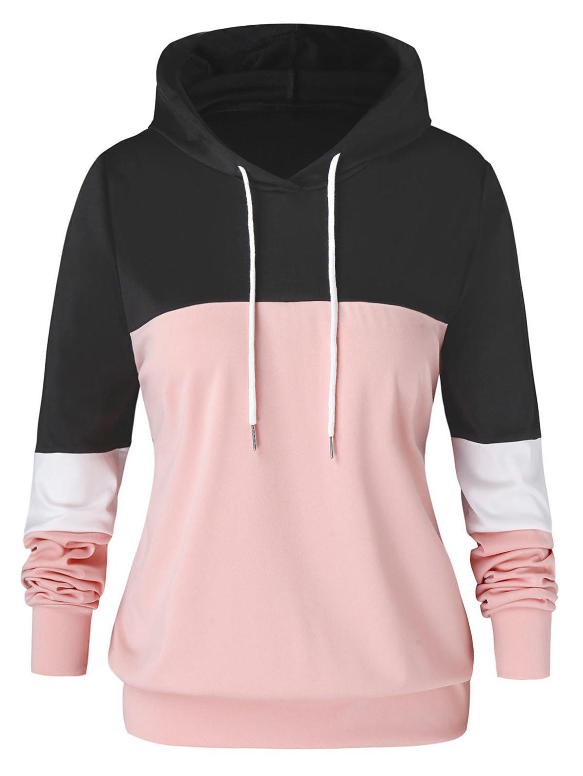 Plus Size Colorblock Contrast Pullover Hoodie - PINK M