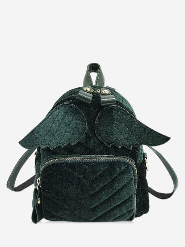 Winged Corduroy Front Pocket Mini Backpack - DARK GREEN