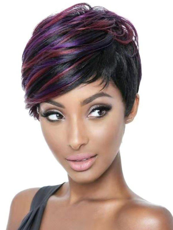 Mixed Short Pixie Cut Straight Synthetic Wig - multicolor