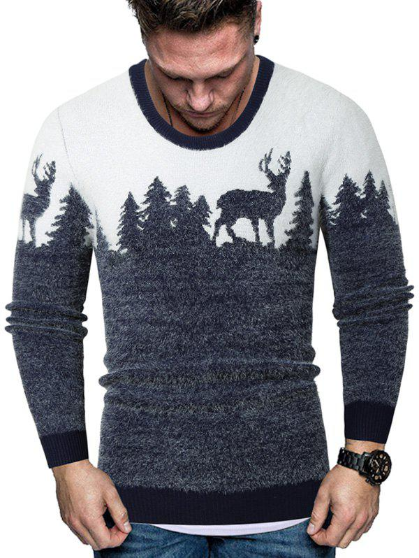 Christmas Elk Graphic Crew Neck Fuzzy Sweater - CADETBLUE 2XL