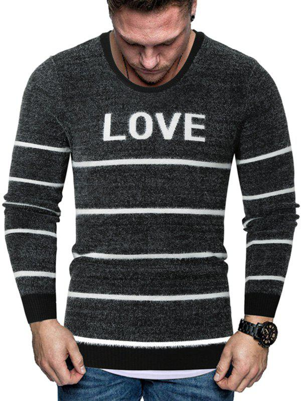 Letter Striped Long Sleeve Fuzzy Sweater - BLACK M