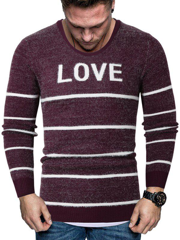Letter Striped Long Sleeve Fuzzy Sweater - RED L