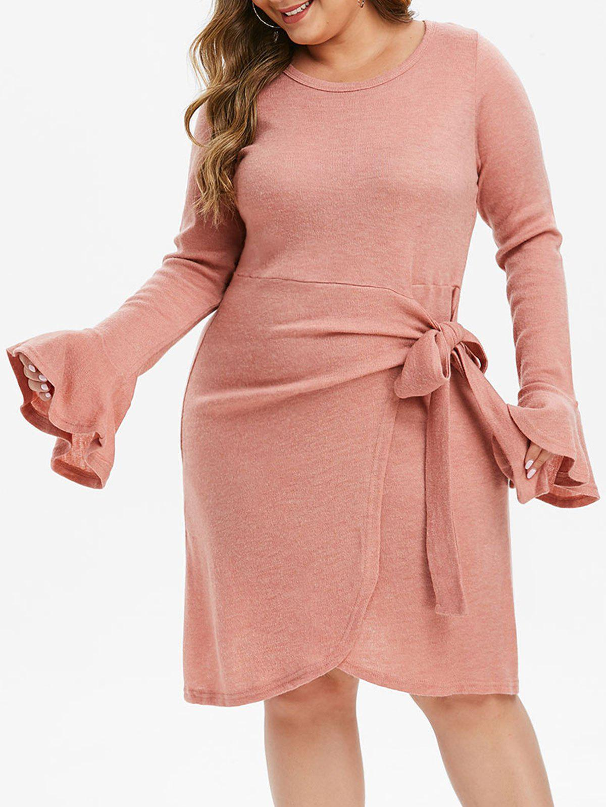 Plus Size Side Knot Asymmetric Knit Dress - ROSE 2X