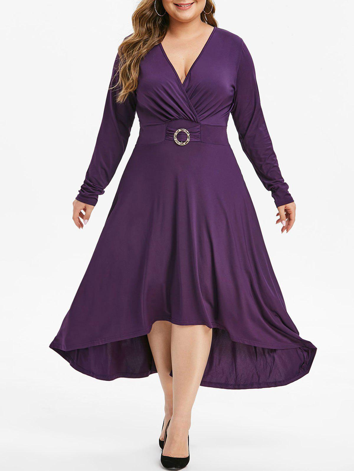 Rhinestone O Ring High Low Long Sleeve Plus Size Dress - PURPLE IRIS 1X