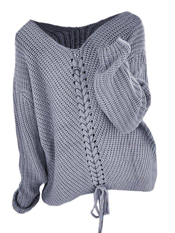Plus Size Lace Up Drop Shoulder Jumper Sweater - GRAY ONE SIZE