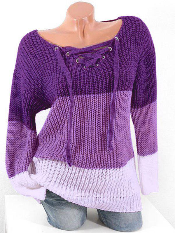 Plus Size Colorblock Lace Up Chunky Sweater - PURPLE 4X