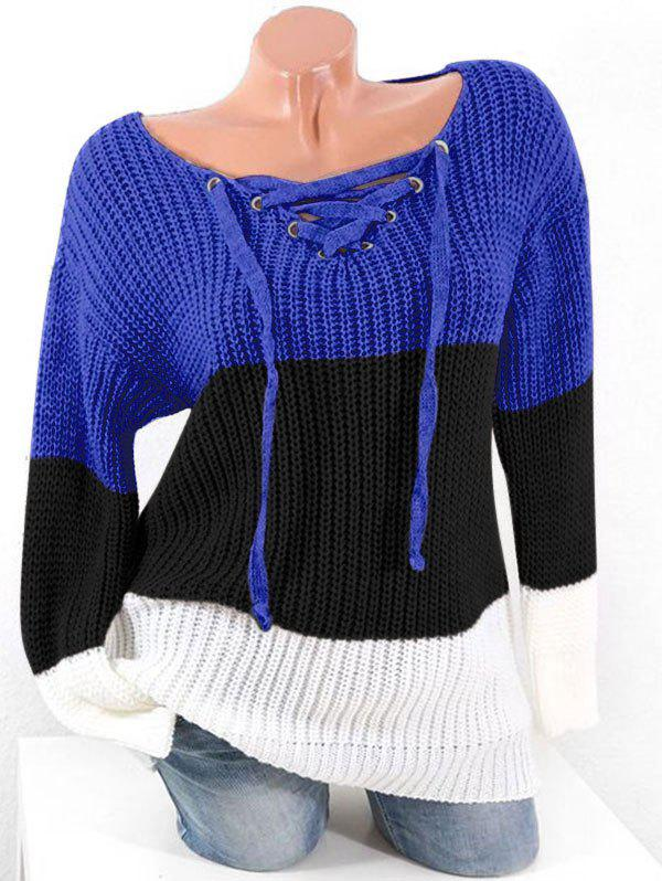 Plus Size Colorblock Lace Up Chunky Sweater - COBALT BLUE 1X