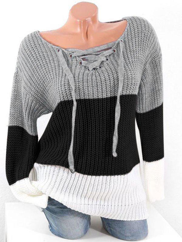 Plus Size Colorblock Lace Up Chunky Sweater - GRAY 1X