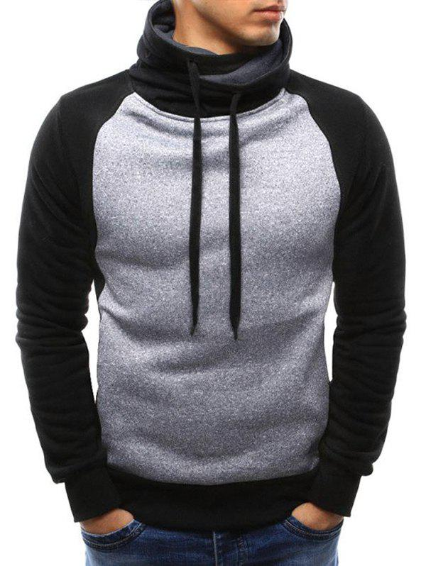 Casual Color Spliced Drawstring Hoodie - LIGHT GRAY L