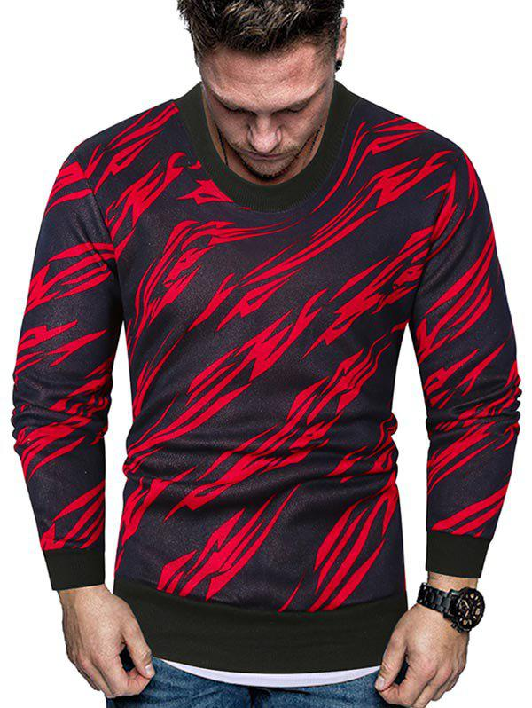 Abstract Print Crew Neck Fleece Sweater - RED M