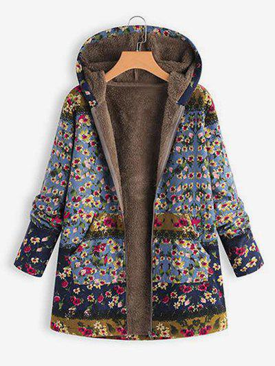 Faux Shearling Lining Hooded Floral Coat - multicolor M