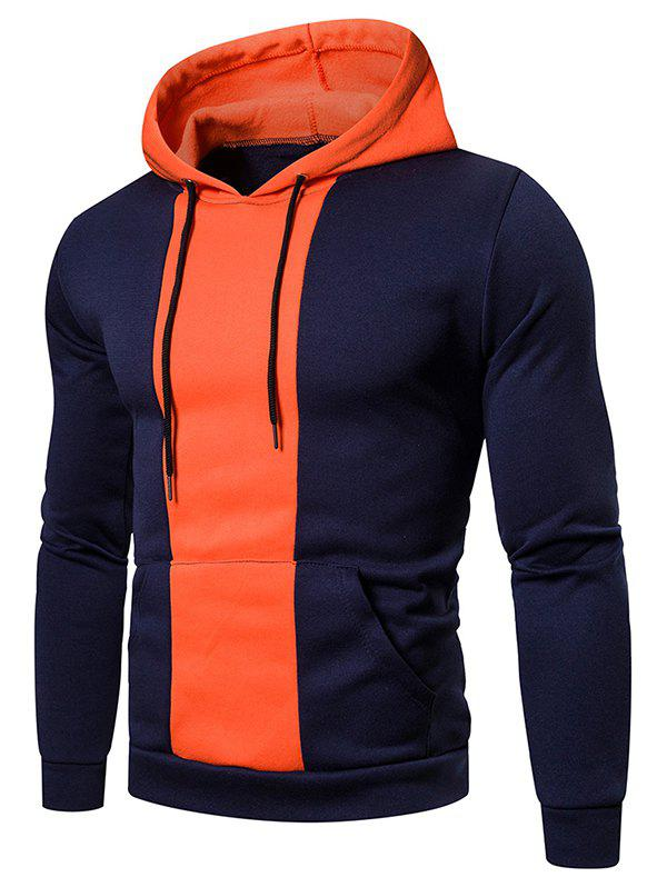 Sweat à Capuche en Blocs de Couleurs Imprimé avec Poche - Cadetblue 3XL