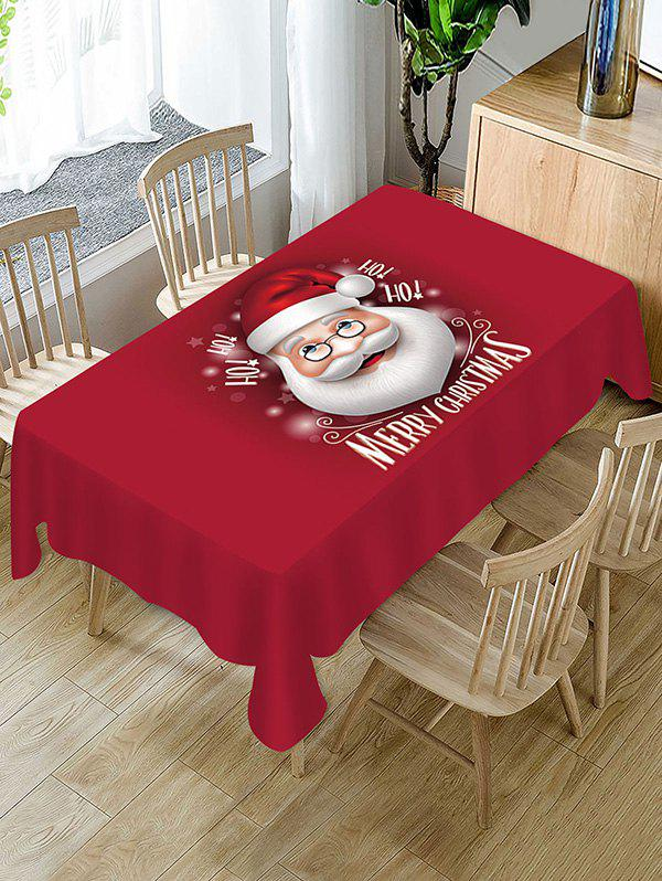 Christmas Santa Claus Greeting Printed Fabric Tablecloth - RED WINE W55 X L55 INCH