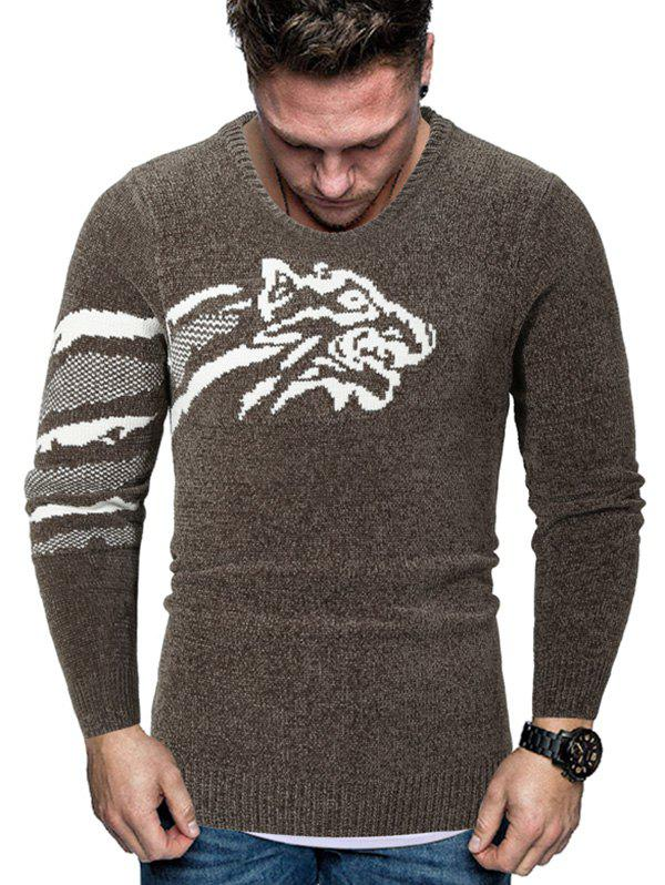 Tiger Graphic Crew Neck Chenille Sweater - COFFEE L