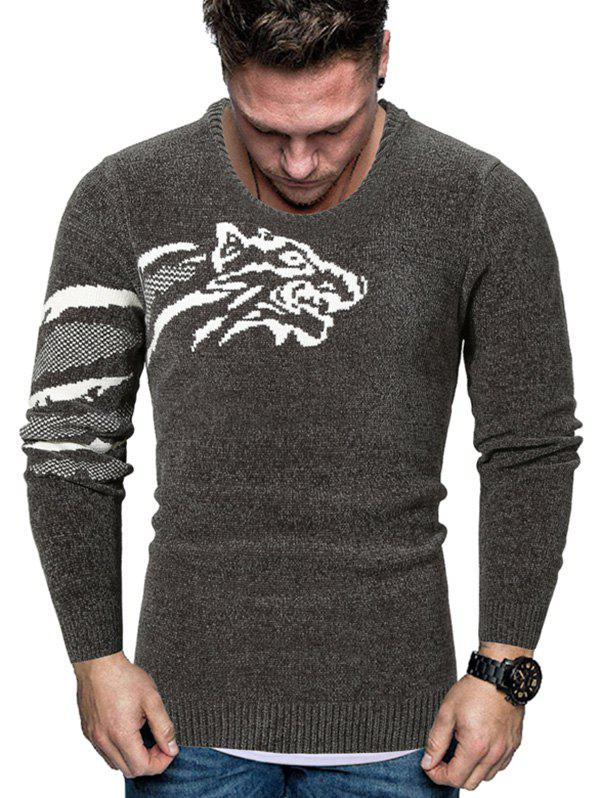 Tiger Graphic Crew Neck Chenille Sweater - DARK GRAY XL