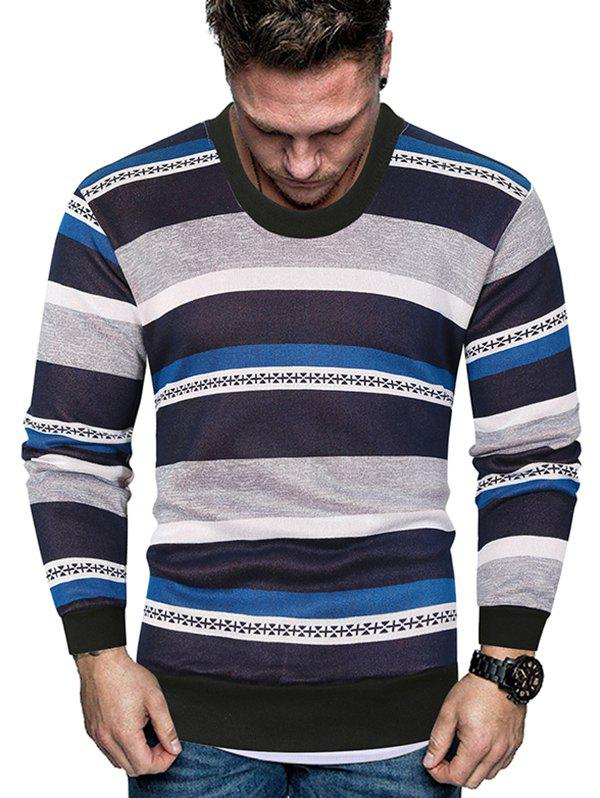 Color-blocking Striped Crew Neck Fleece Sweater - BLUE 2XL