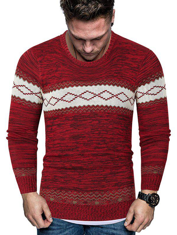 Rhombus Graphic Crew Neck Heather Knit Sweater - RED XS