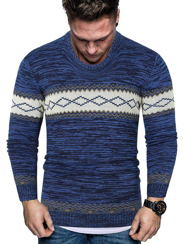 Rhombus Graphic Crew Neck Heather Knit Sweater - BLUE S