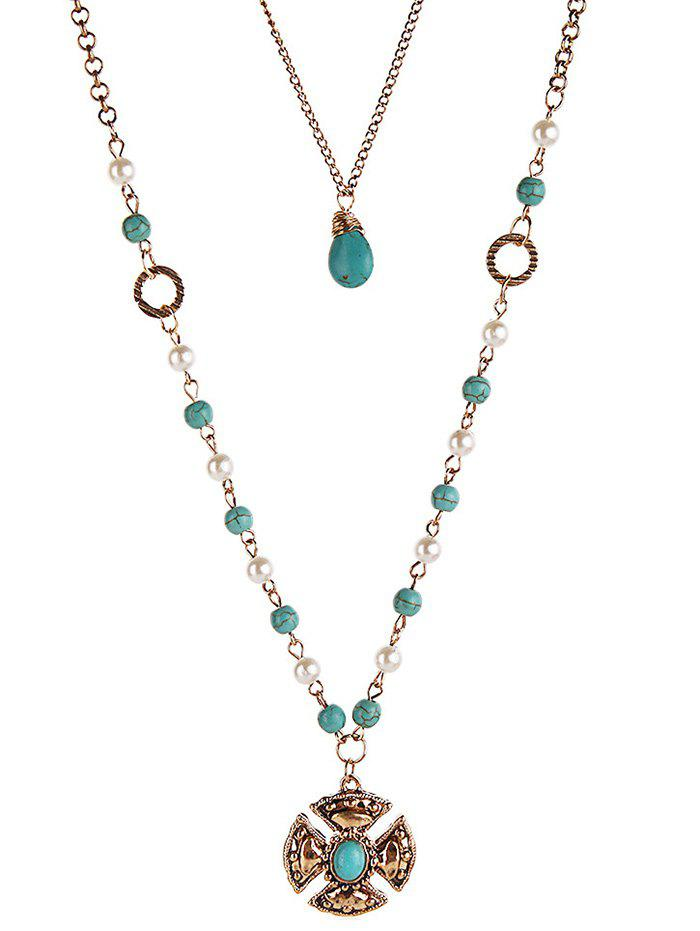Bohemian Artificial Turquoise Layered Necklace - GOLD