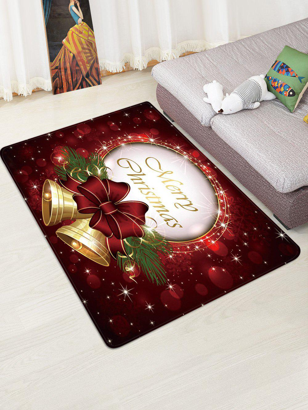 Christmas Bowknot Bells Greeting Pattern Water Absorption Area Rug - multicolor W47 X L63 INCH